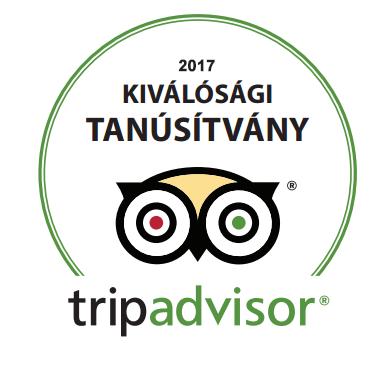 Tripadvisor Kiválósági Tanúsítvány - 2017